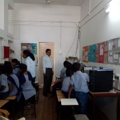 Computer training program for underprivileged students of nearby school by M.P.Deo Memorial College Rotaract 2017-18